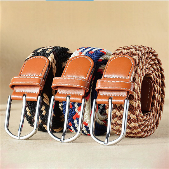 Customized Wholesale High Quality Polyester Knitted Elastic Braided Mens Rope Belt