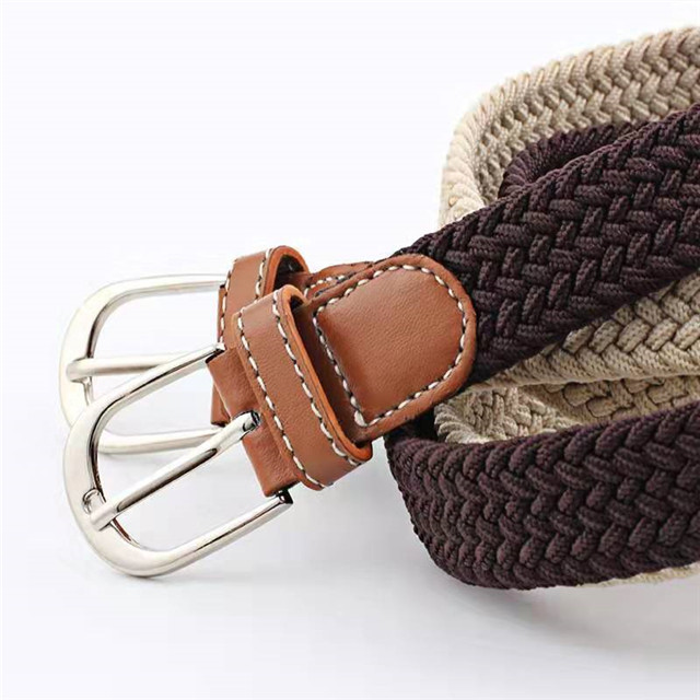Hot Sale Fashionable Woven Mixed Color Rope Elastic Waist Belt With Zinc Alloy Metal Belt Buckle