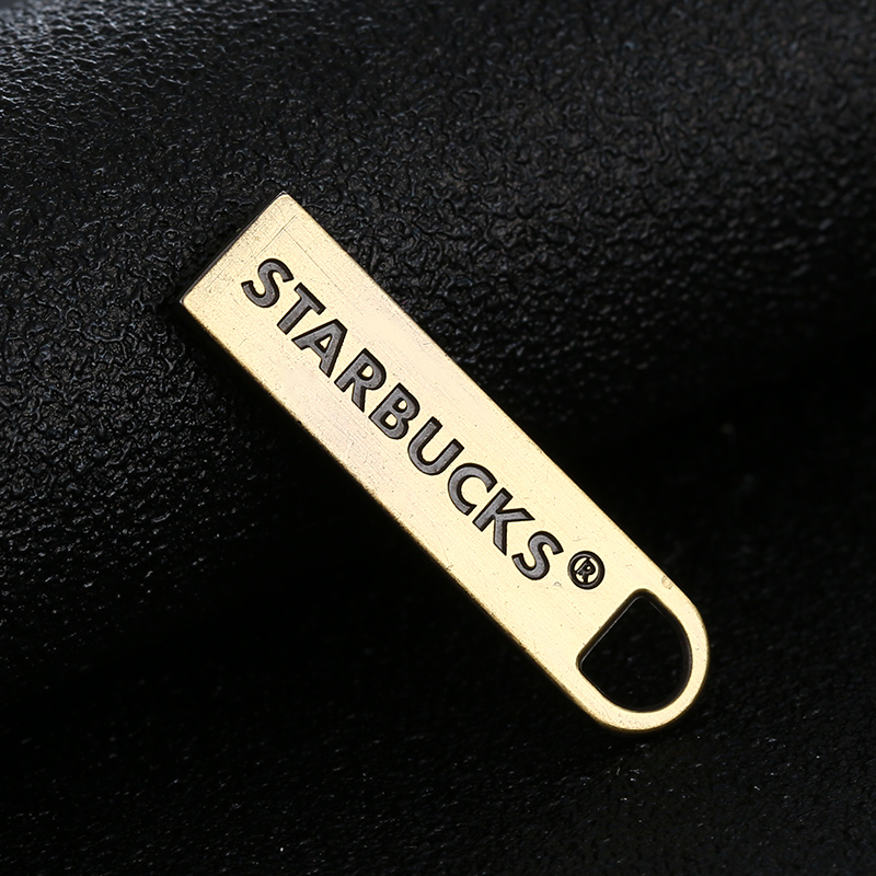 Matte Black Logo Engraved Custom Zinc Alloy Zipper Puller #5 Garment Zipper Slider