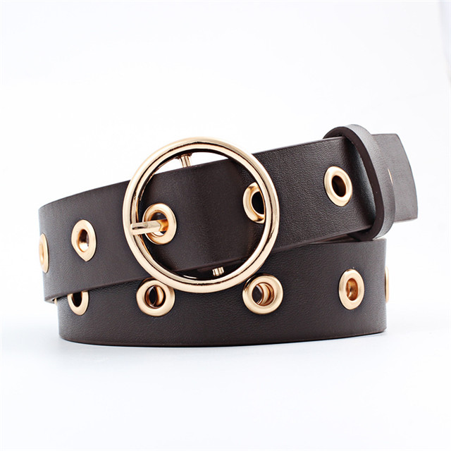 Round Metal Buckle Belt Colorful Women's Jean Belt Manufacturer Fashion Custom Design Ladies Dress Belt