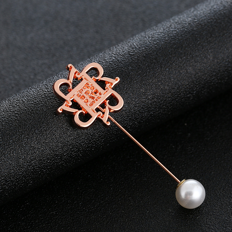 Rose Gold Pearls Decoration Long Pin Lady Fashion Brooch for Clothing Rustproof
