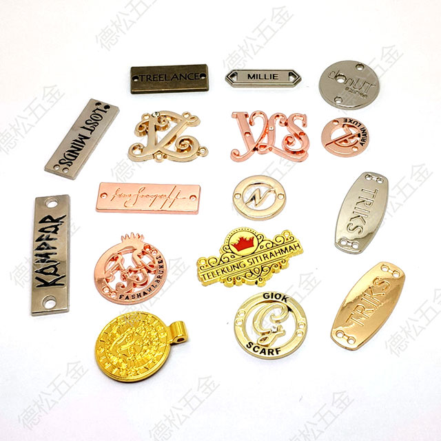 Pearl Nickle Cheap Wallets Bags Brand Logo Name Engraved Metal Label Tag